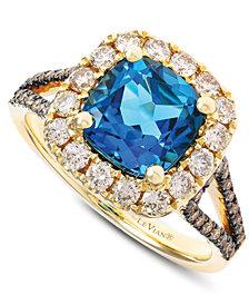 Le Vian® Deep Sea Blue Topaz (2-5/8 ct. t.w.) & Diamond (3/4 ct. t.w.) Ring in 14k Gold