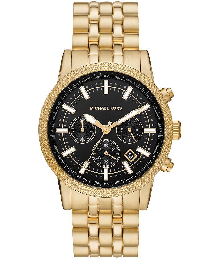 Michael Kors - Men's Chronograph Hutton Gold-Tone Stainless Steel Bracelet Watch 39mm