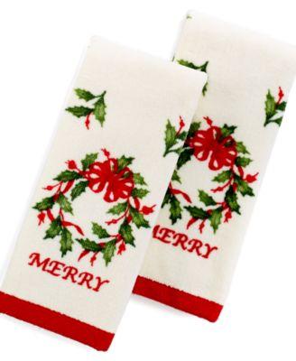 Lenox Bath Towels, Merry Wreath 2 Piece Fingertip Towel Box Set