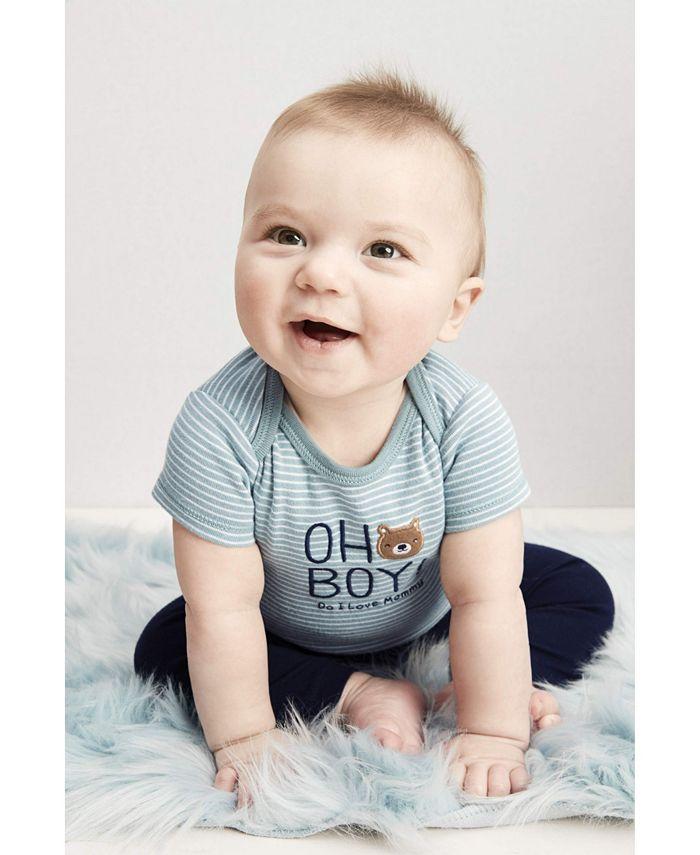 Carter's - Baby Boys 3-Pc. Oh Boy! Bear Cotton Bodysuits & Pants Set