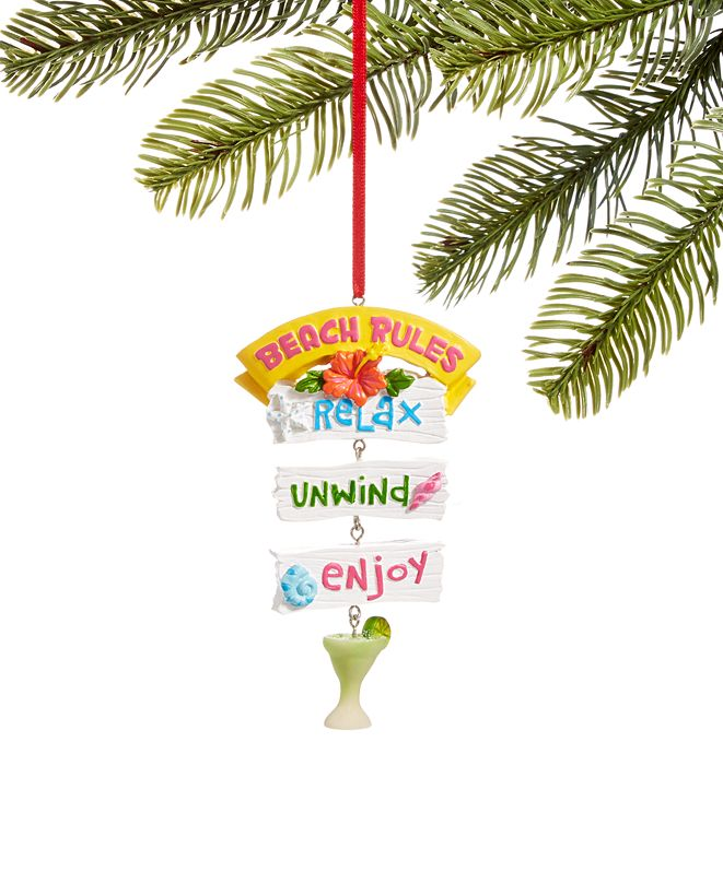 """Holiday Lane At the Beach """"Beach Rules"""" Sign Ornament, Created for Macy's"""