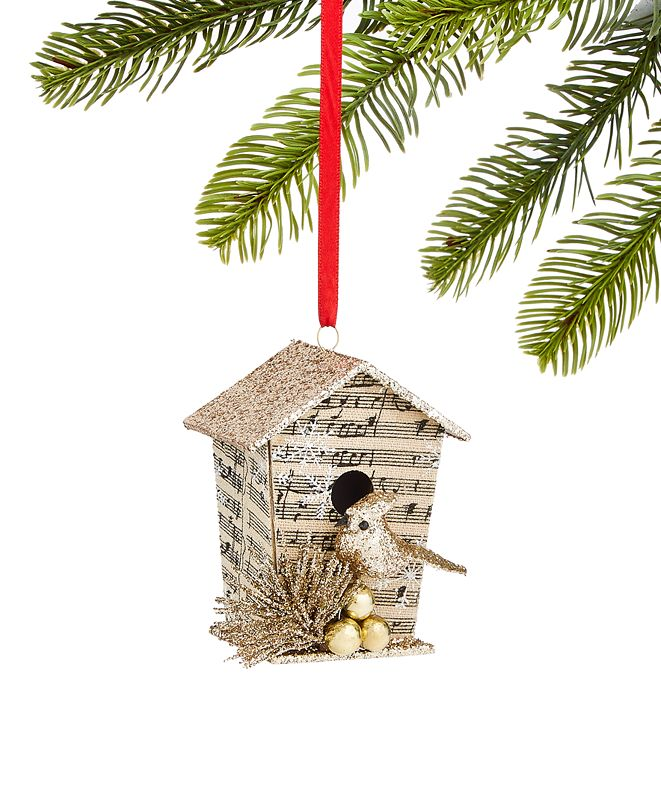 Holiday Lane Typescript Paper and Glitter Birdhouse Ornament, Created for Macy's