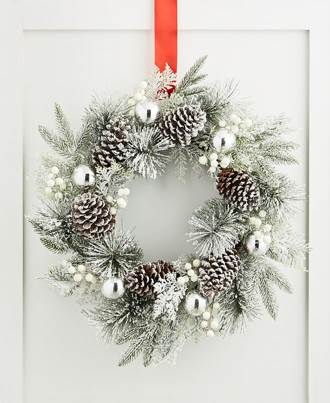 Holiday Lane Chalet You Stay, Pinecone & Silver Ornament Wreath, Created for Macy's