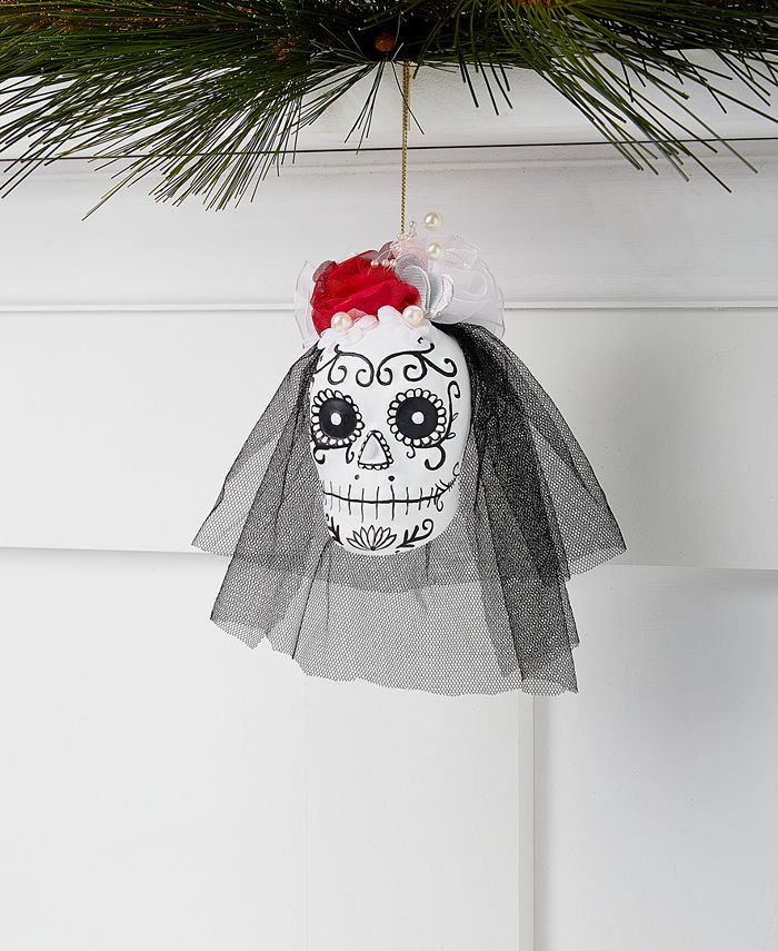 Holiday Lane - Day of the Dead Skull with Fabric Veil Ornament