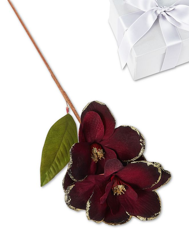 Holiday Lane Evergreen Dreams Burgundy Floral Pick, Created for Macy's