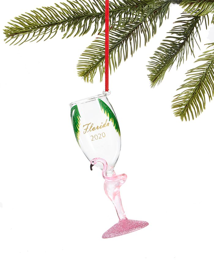 Holiday Lane - Florida Champagne Glass with Flamingo Ornament