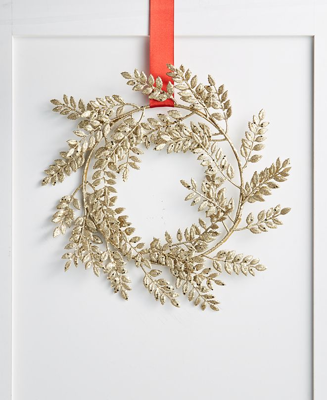 Holiday Lane Shimmer and Light Gold Leaf Wreath, Created for Macy's