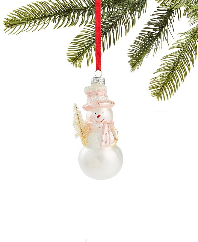 Holiday Lane Shimmer & Light Snowman with Tree Ornament, Created for Macy's