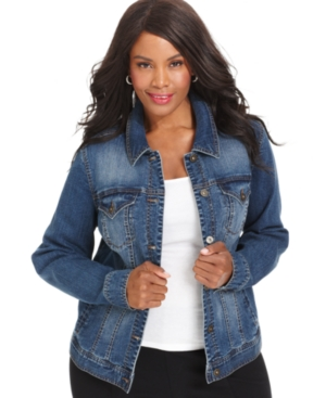 Style & co. Plus Size Denim Jacket, Mosaic Wash