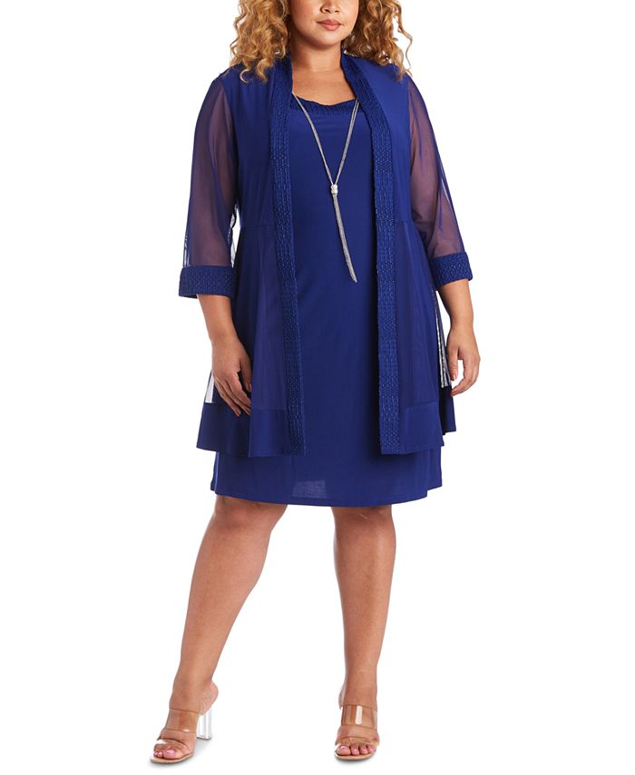 R & M Richards - Trendy Plus Size Jacket & Necklace Dress