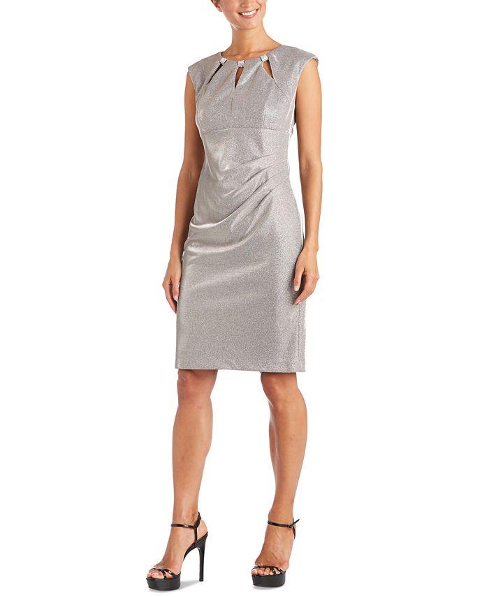 R & M Richards - Embellished-Neck Metallic Sheath Dress