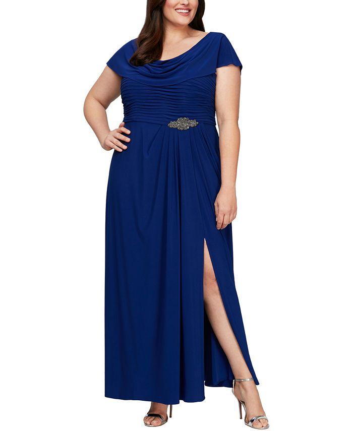 Alex Evenings - Plus Size Cowl-Neck A-Line Gown