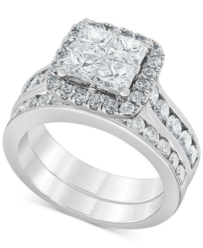 Macy's - Diamond (2-7/8 ct. t.w.) Princess Quad Cluster Bridal Set in 14k White Gold