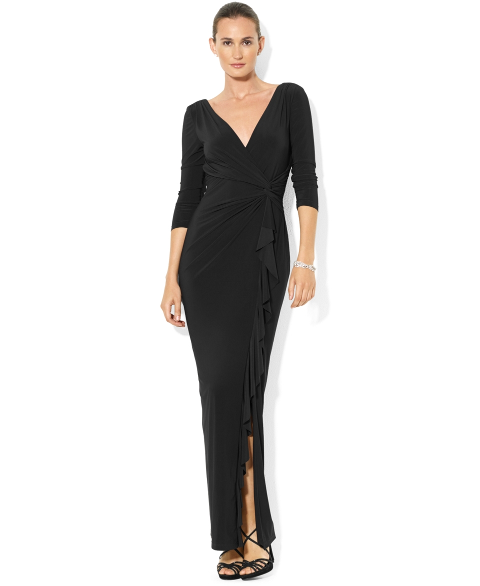Lauren Ralph Lauren Petite Three Quarter Sleeve Ruffled Gown   Dresses   Women