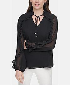 Calvin Klein Ruffled Sheer-Sleeve Top