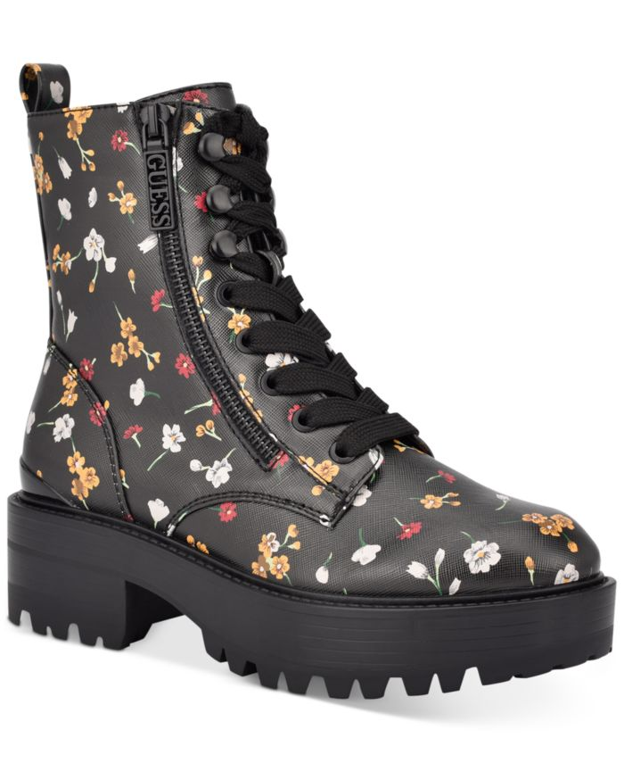 GUESS Women's Fearne Lug Sole Lace-Up Booties & Reviews - Boots - Shoes - Macy's