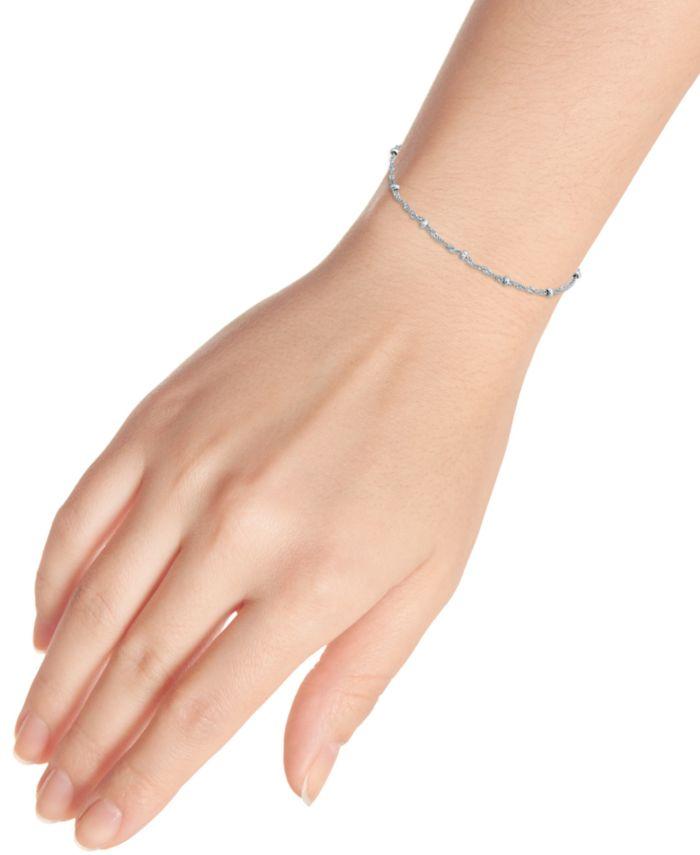 "Giani Bernini Sterling Silver Bracelet,  7-1/4"" Singapore Small Beaded Chain & Reviews - Bracelets - Jewelry & Watches - Macy's"