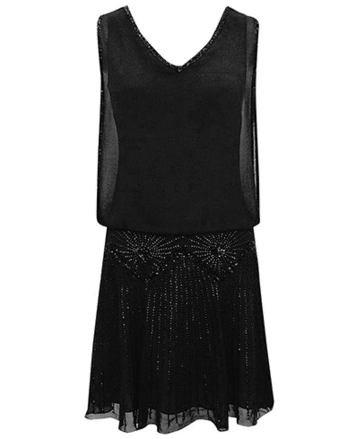 J Kara - Beaded V-Neck Dress