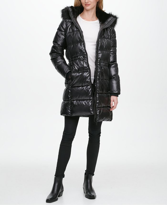 DKNY - High-Shine Faux-Fur-Trim Hooded Puffer Coat