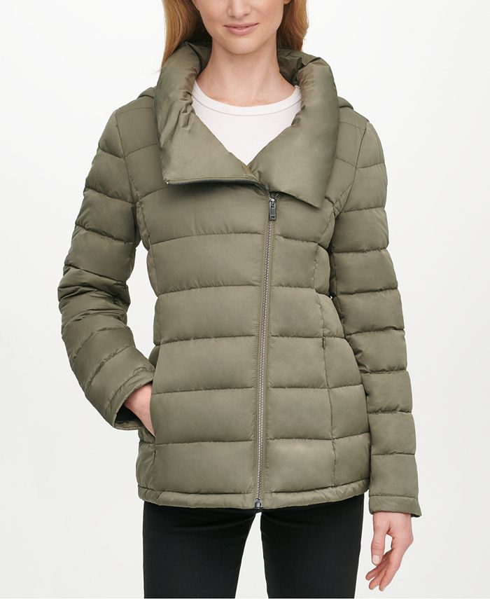 DKNY - Asymmetrical Hooded Packable Puffer Coat
