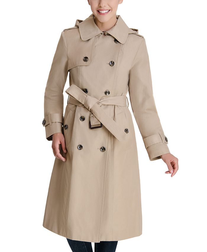 London Fog - Double-Breasted Hooded Trench Coat