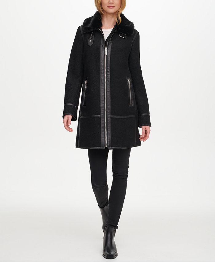DKNY - Faux-Fur & Faux-Leather-Trim Coat