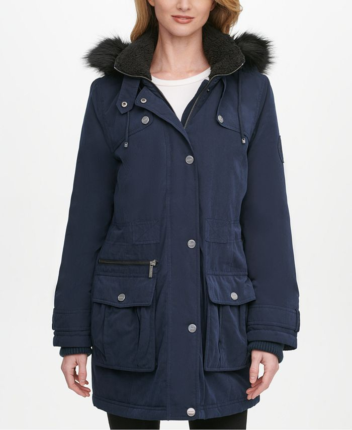 DKNY - Faux-Fur Trim Hooded Anorak Jacket