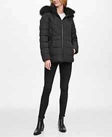 DKNY Faux-Fur Trim Hooded Puffer Coat