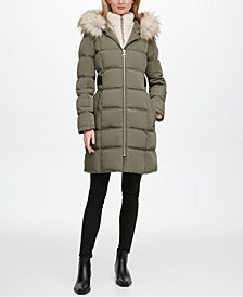 DKNY Fleece-Lined Faux-Fur-Trim Hooded Puffer Coat, Created for Macy's