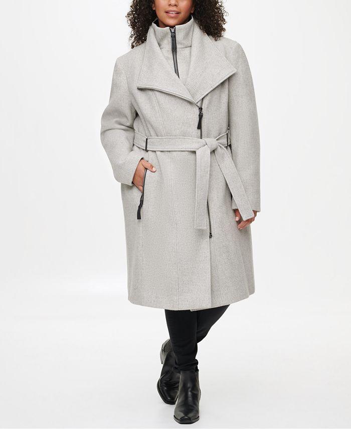 Calvin Klein - Plus Size Faux-Leather-Trim Belted Coat