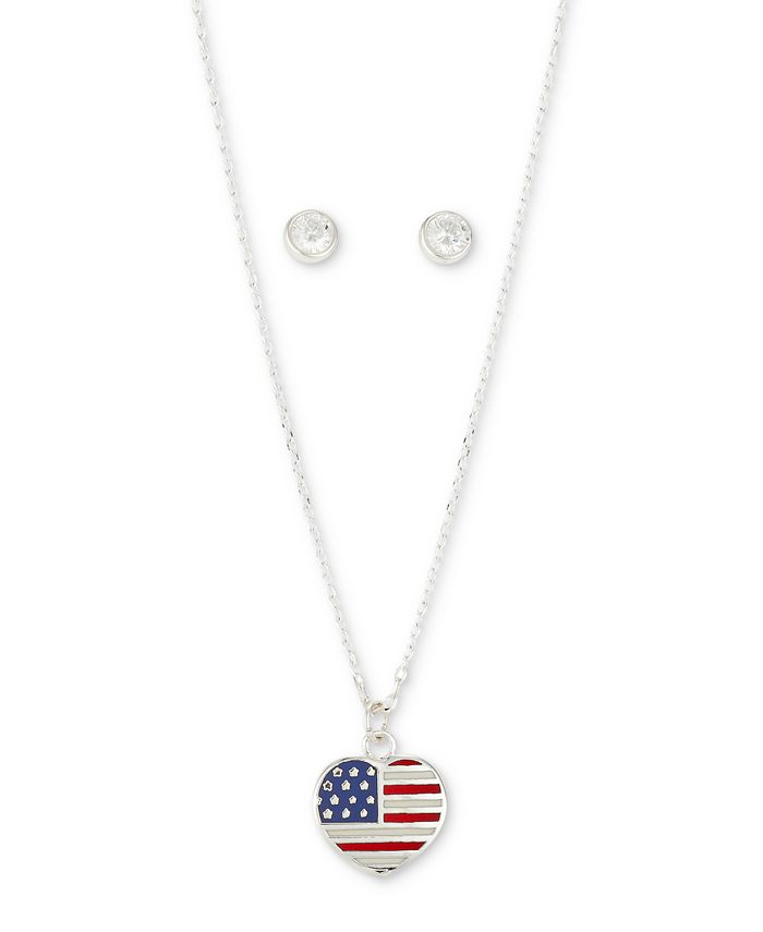 Unwritten - 2-Pc. Set Enamel Flag Heart Pendant Necklace & Cubic Zirconia Round Stud Earrings in Fine Silver-Plate