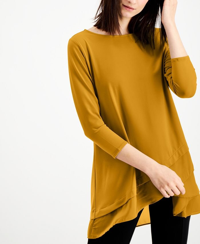 Alfani Sheer Crossover Hem Tunic Created For Macy S Reviews Tops Women Macy S