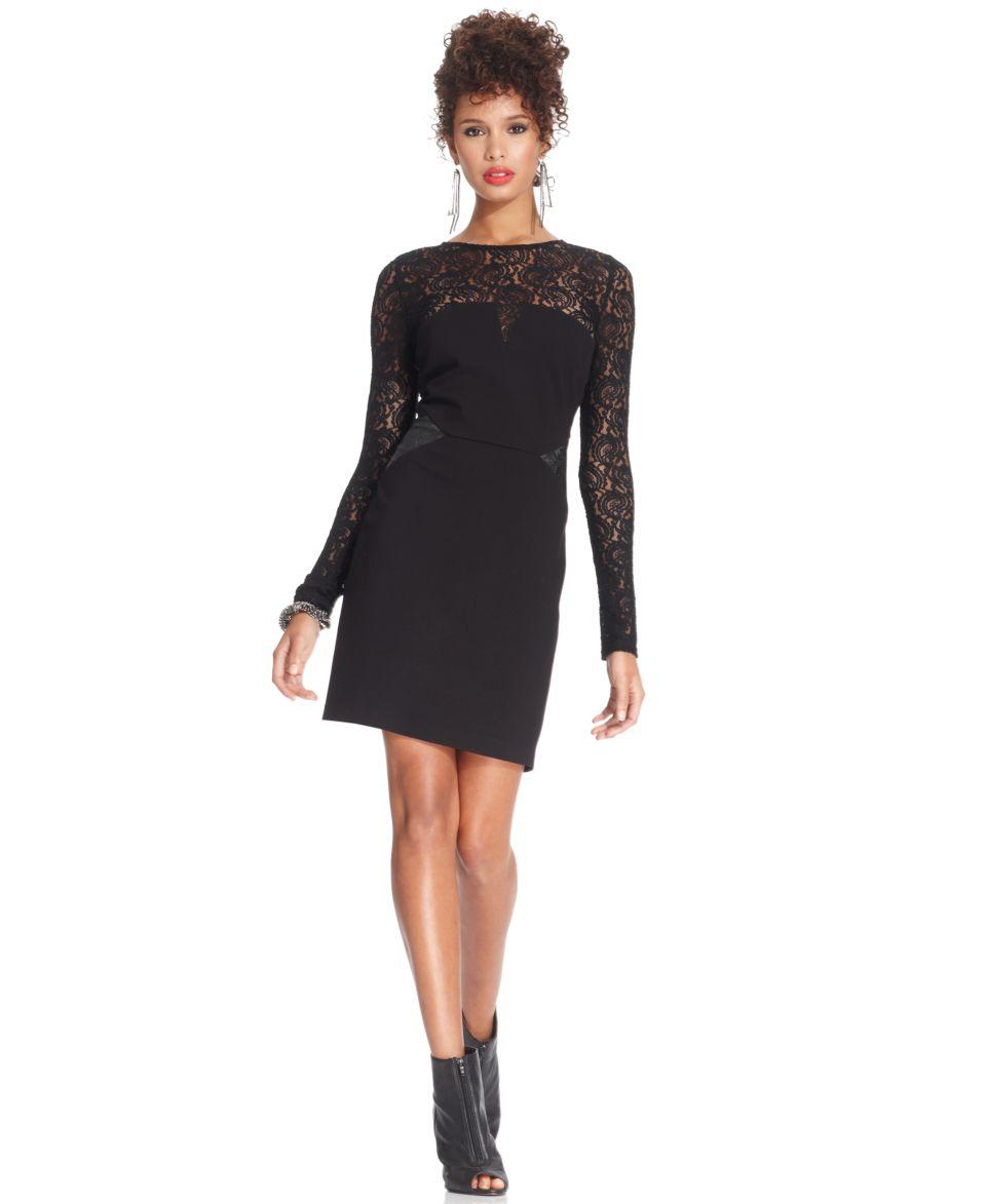 W118 by Walter Baker Dress, Long Sleeve High Neck Lace Faux Leather   Dresses   Women