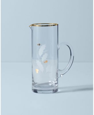 Holiday Gold Glass Beverage Pitcher
