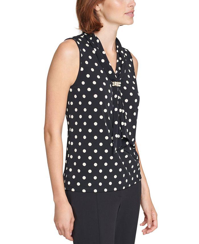 Karl Lagerfeld Paris - Imitation Pearl Cluster Sleeveless Top