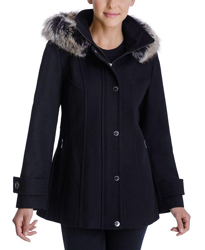 London Fog - Faux-Fur-Trim Hooded Coat
