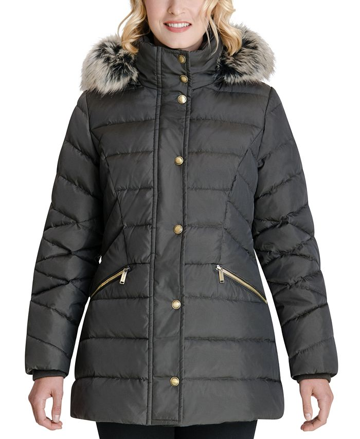 London Fog - Faux-Fur Trim Hooded Puffer Coat
