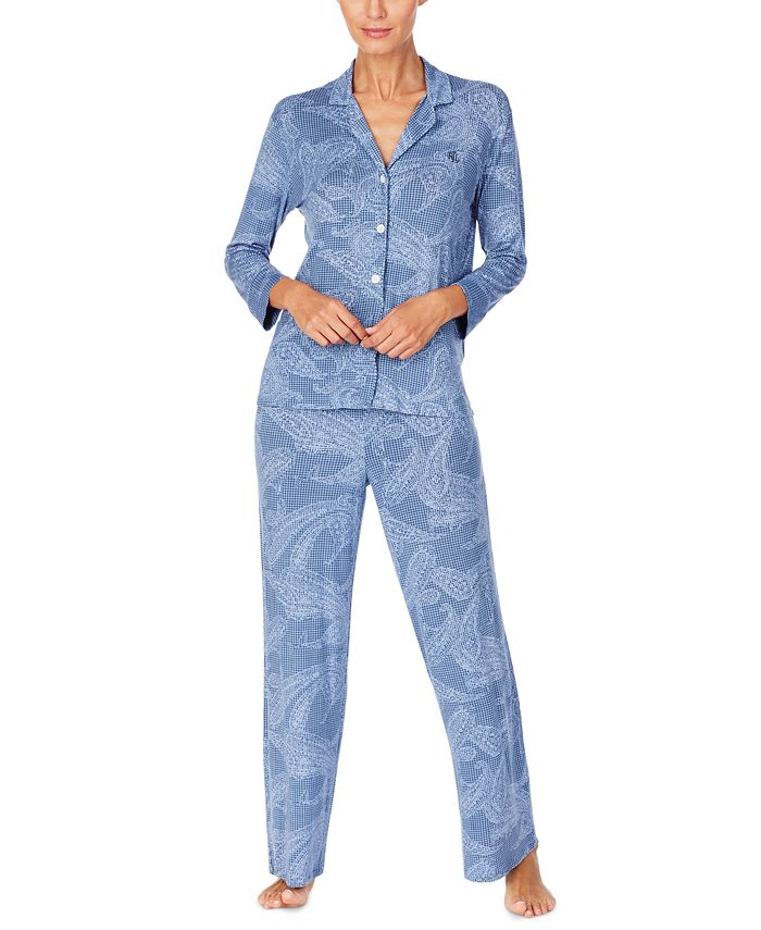 Lauren Ralph Lauren - Printed Three-Quarter-Length Sleeve Pajama Set