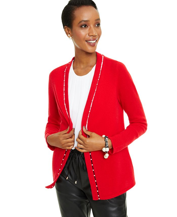 Charter Club - Imitation Pearl Placket Cashmere Cardigan, Created for Macy's