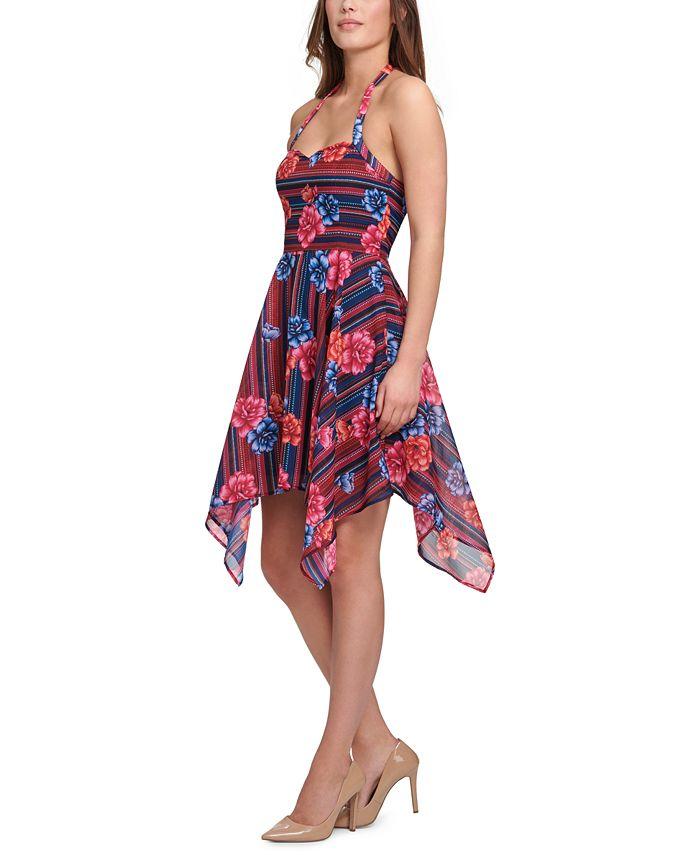 GUESS - Printed Chiffon Hanky-Hem Slip Dress