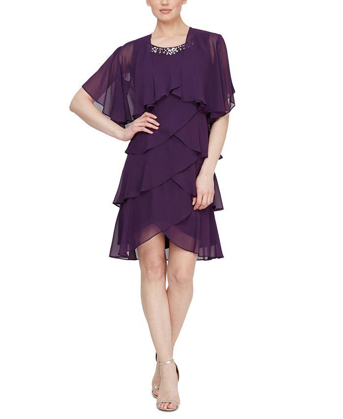 SL Fashions - Embellished Tiered Chiffon Dress & Capelet