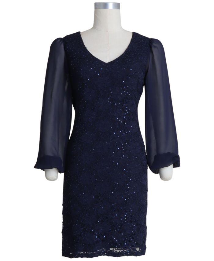 Connected Plus Size Sequinned Lace Sheath Dress & Reviews - Dresses - Plus Sizes - Macy's
