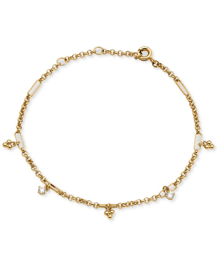 AVA NADRI 18k Gold-Plated Cubic Zirconia & Bead Cluster Charm Link Bracelet & Reviews - Bracelets - Jewelry & Watches - Macy's