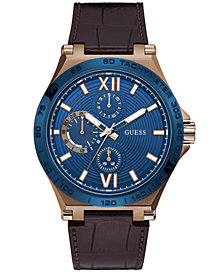 GUESS Men's Brown Leather Strap Watch 46mm