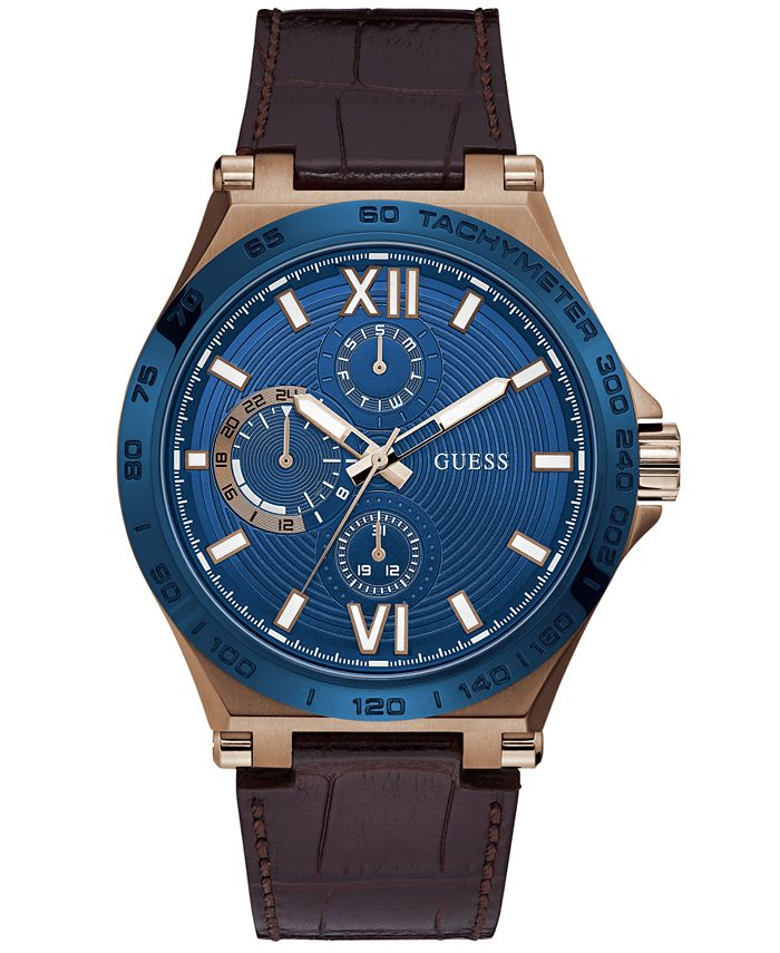 GUESS - Men's Brown Leather Strap Watch 46mm
