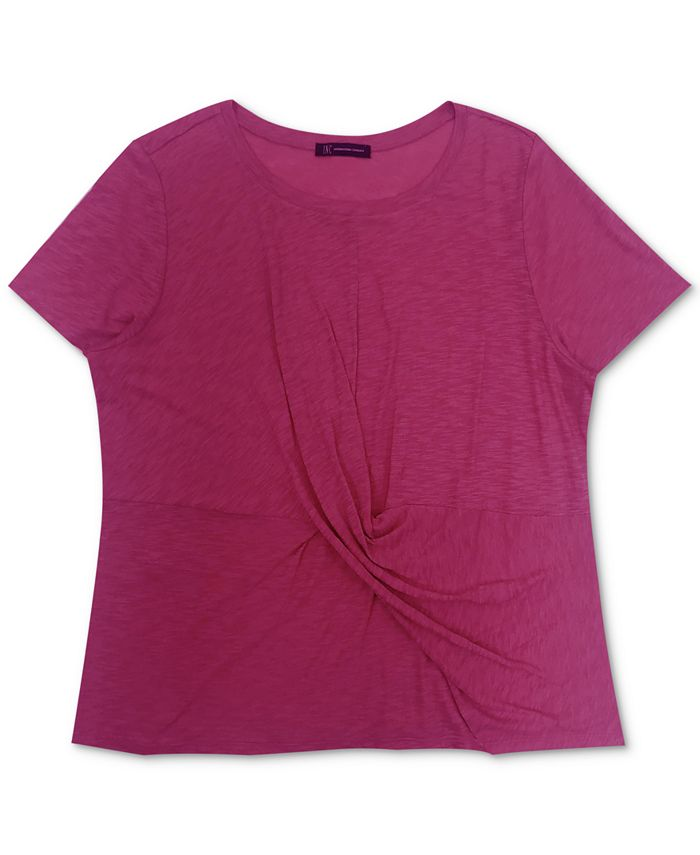 INC International Concepts - Plus Size Cotton Twist-Front T-Shirt