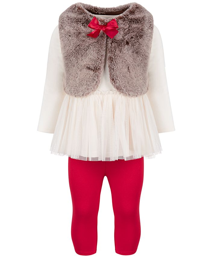 First Impressions - Baby Girls Faux Fur Bow Tunic Set