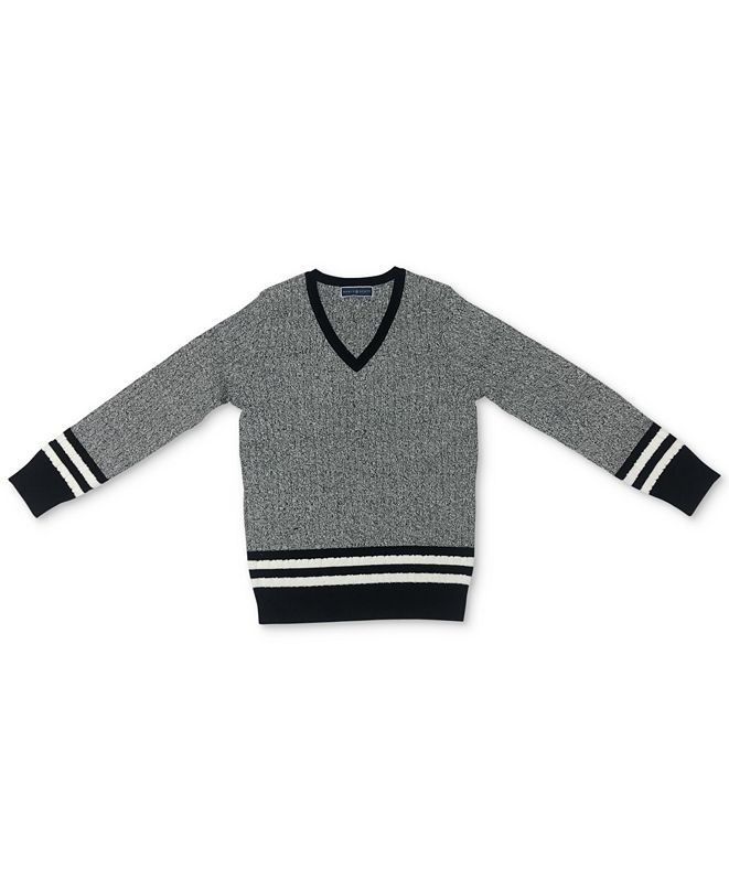Karen Scott Petite Striped Cable-Knit Sweater, Created for Macy's