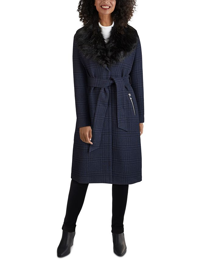 GUESS - Faux-Fur-Collar Belted Wrap Coat