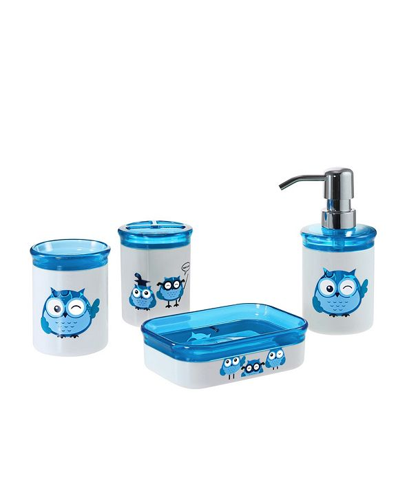Immanuel Kid's Owl 4 Piece Bathroom Accessory Set with Gift Box